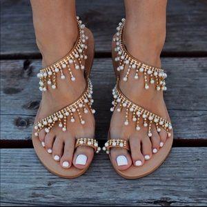 Shoes - Vintage Pearl Boho Beaded Sandals